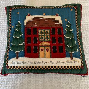 "Handmade 100% Cotton Xmas Pillow~12""H  x 14""W"